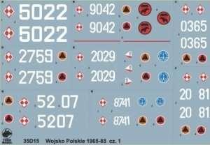 35D15 Polska kalkomania - Wojsko Polskie 1965-85 cz.1 - skala 1/35