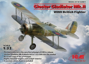 Gloster Gladiator Mk.II WWII British Fighter model ICM in 1-32