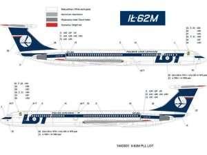 Kalkomania PLL LOT - IŁ-62M w skali 1/144