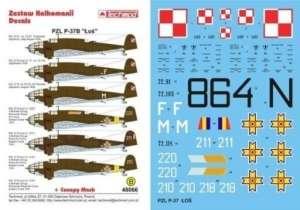 Decal set for the model PZL P-37B Łoś 1-48 Techmod 48066