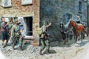 MB 3578 Amerykańscy żołnierze i francuska ludność - Francja 1944