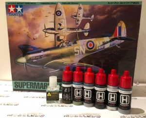 Gift set model Spitfire Tamiya 61033 with paints and glue