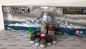 Gift Set Tamiya 78013 Bismarck with paints and glue