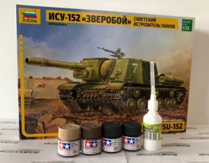 Zestaw modelarski Zvezda 3532 ISU-152 z farbami i klejem
