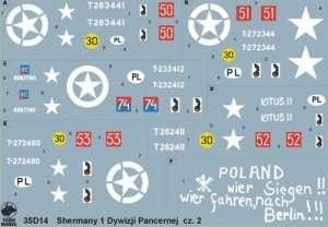 35D14 Polska kalkomania - Polskie Shermany - 1 Dyw.Panc. cz.2 - 1/35