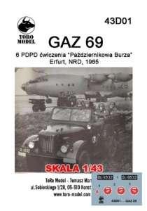 43D01 Kalkomania 1-43 GAZ 69 6PDPD ćw. Październikowa Burza