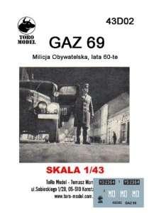 43D02 Kalkomania 1-43 GAZ 69 Milicja Obywatelska, lata 60-te