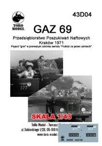 43D04 Kalkomania 1-43 GAZ 69 Przeds. Poszukiwań Naftowych