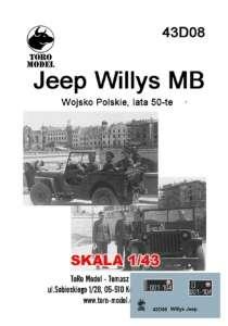 43D08 Kalkomania 1-43 Jeep Willys MB Wojsko Polskie lata 50-te