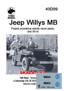 43D09 Kalkomania 1-43 Jeep Willys MB Prywatna szkoła nauzki jazdy