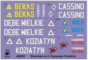 48D02 Polska kalkomania - Shermany w 2 Korpusie Polskim - 1/48