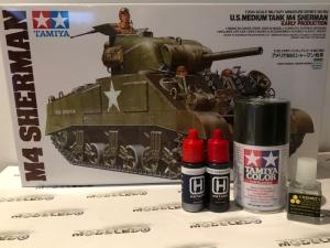 Zestaw modelarski Tamiya 35190 czołg M4 Sherman z farbami i klejem