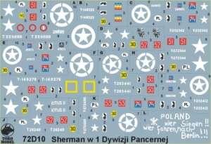 72D10 Kalkomania 1-72 Polskie Shermany 1 Dywizja Pancerna