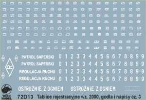 72D13 Polska kalkomania 1-72 Tablice rejestracyjne, godła WP cz.3