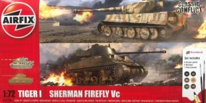Airfix A50186 Zestaw z farbami Tiger I i Sherman Firefly Vc 1-72
