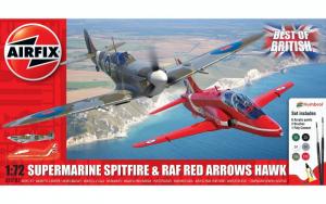 Airfix A50187 Zestaw z farbami Spitfire i RAF Red Arrows Hawk 1-72