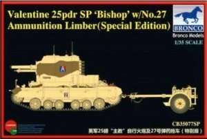 Bronco CB35077SP Valentine 25pdr SP Bishop w/No 27 Ammunition Limber