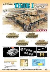 Dragon 7251 Tiger 1 (Mid Production) w/Zimmerit