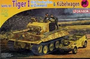 Dragon 7434 Tiger I Mid Production with Zimmerit and Kubelwagen