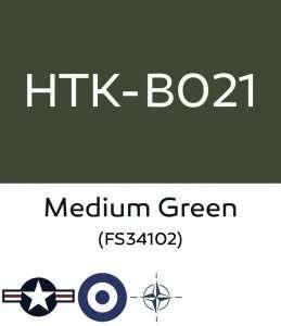 Hataka B021 Medium Green FS34102 - farba akrylowa 10ml