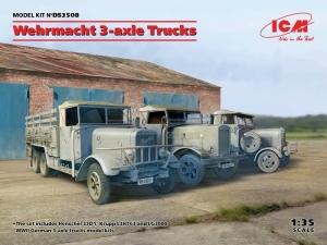 ICM DS3508 Ciężarówki Wehrmachtu Henschel 33D1, Krupp L3H163, LG3000