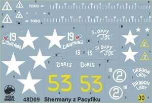 Kalkomania - Shermany z wysp Pacyfiku skala 1-48