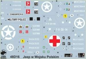 Kalkomania - Willys Jeep w polskiej służbie skala 1-48