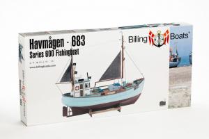 Łódź rybacka Havmagen drewniany model BB683 skala 1-30 z farbami