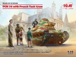 Model czołgu lekkiego FCM 36 z załoga ICM 35338