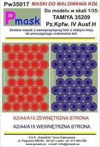 Pmask Pw35017 Maski koła - Pz.Kpfw.IV Ausf. H Tamiya 35209 (1:35)