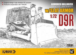 Sabre 72DC01 Wojskowy buldożer D9R z pługiem model 1-72