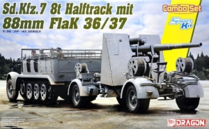 Sdkfz 7 z działem Flak 37 model Dragon 6948 Combo Set