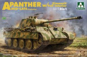 Takom 2100 Czołg Panther A z Zimmeritem wnętrzem model 2w1