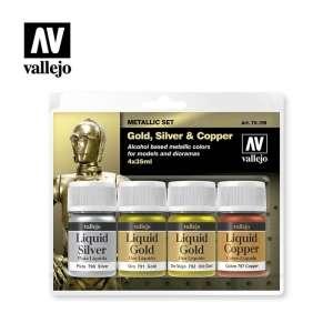 Vallejo 70199 Zestaw farb metalicznych Liquid - 4x35ml