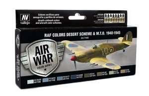 Vallejo 71163 Zestaw 8 farb - RAF Colors Desert Scheme & M.T.O. 1940-45