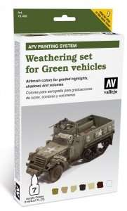 Vallejo 78406 Zestaw - Weathering set for Green vehicles - 6x8ml + 1x10ml