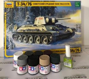 Zestaw modelarski czołg T-34/76 z farbkami Zvezda 3689