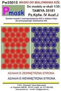 Pmask Pw35015 Maski koła - Pz.Kpfw.IV Ausf.J Tamiya 35181 1-35