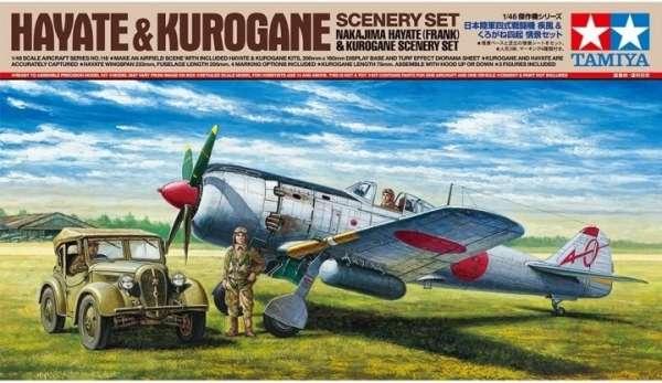 Zestaw Tamiya 61116 do stworzenia dioramy - model samolotu Nakajima Hayate oraz model samochodu Kurogane do sklejania w skali 1:48-image_Tamiya_61116_1