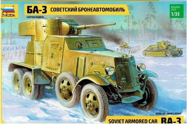 Radziecki samochód pancerny BA-3, plastikowy model do sklejania Zvezda 3546 w skali 1:35-image_Zvezda_3546_1