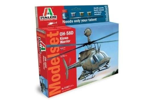 Amerykański śmigłowiec Bell OH-58D Kiowa Warrior, plastikowy model do sklejania w skali 1:72, zestaw modelarski Italeri 71027 z farbami, klejem i pędzlem.-image_Italeri_71027_1