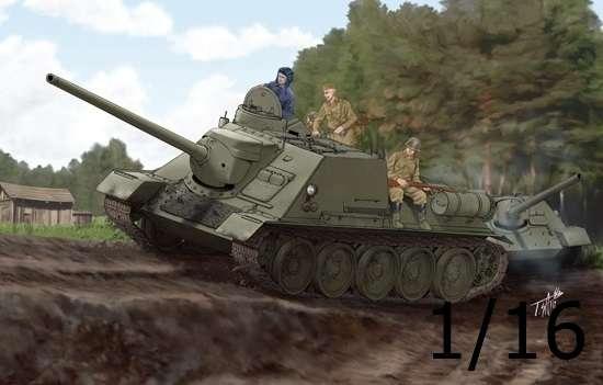 Radziecki średni niszczyciel czołgów SU-100, plastikowy model do sklejania Trumpeter 00915 w skali 1:16.-image_Trumpeter_00915_1