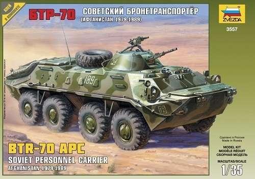 Radziecki transporter opancerzony z wieżą BTR-70 AP, plastikowy model do sklejania Zvezda 3557 w skali 1:35.-image_Zvezda_3557_1