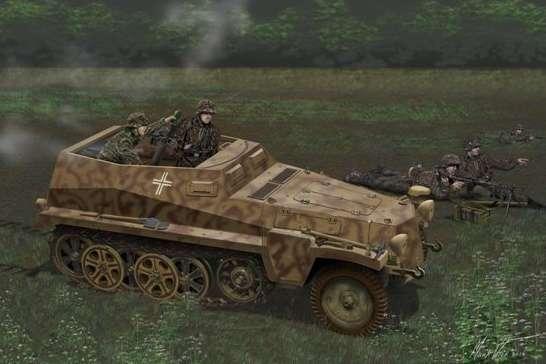 Niemiecki półgąsienicowy pojazd wsparcia Sd.Kfz. 250/7, plastikowy model do sklejania Dragon 6858 w skali 1:35-image_Dragon_6858_1