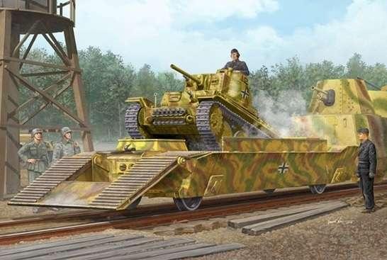 Niemiecki wagon platforma do transportu czołgów oraz czołg PzKpfw 38(t), plastikowy model do sklejania Trumpeter 01508 w skali 1:35.-image_Trumpeter_01508_1