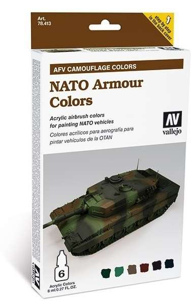 Zestaw farb AFT Camouflage Colors - NATO Armour Colors, Vallejo 78413.-image_Vallejo_78413_1
