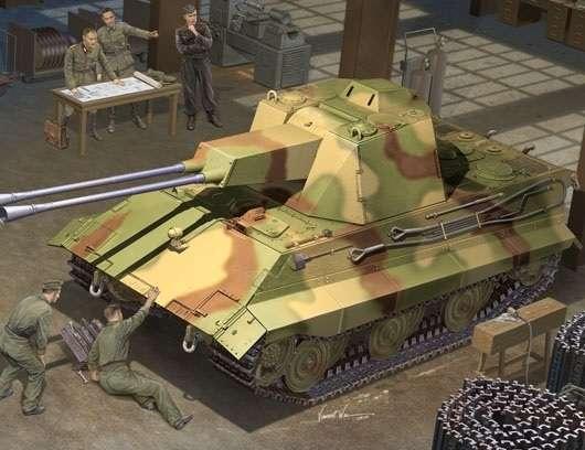 Niemiecki niszczyciel czołgów E-50 Flakpanzer , plastikowy model do sklejania Trumpeter 01537 w skali 1:35-image_Trumpeter_01537_1