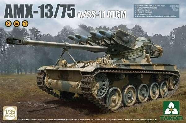 Francuski lekki czołg AMX-13/75 z wyrzutnią ppk SS-11, plastikowy model do sklejania Takom 2038 w skali 1:35.-image_Takom_2038_1