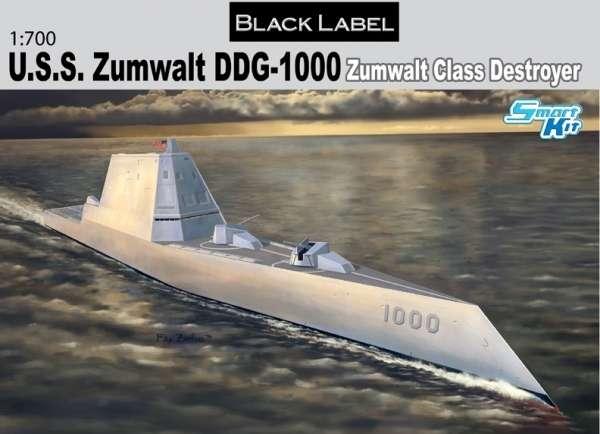 Amerykański prototypowy niszczyciel nowej generacji U.S.S. Zumwalt DDG-1000, plastikowy model do sklejania Dragon 7141 w skali 1:700-image_Dragon_7141_1