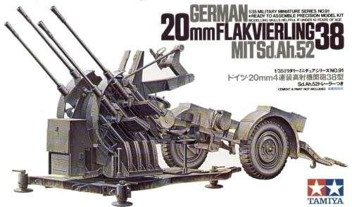 Niemieckie przeciwlotnicze działko 20 mm Flakvierling 38 z przyczepką, plastikowy model do sklejania Tamiya 35091 w skali 1:35-image_Tamiya_35091_1